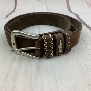 Another Line   Brown Suede Leather Belt